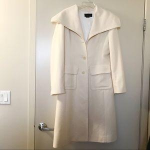 BCBG Maxazria | Cream Wool Blend Long Coat